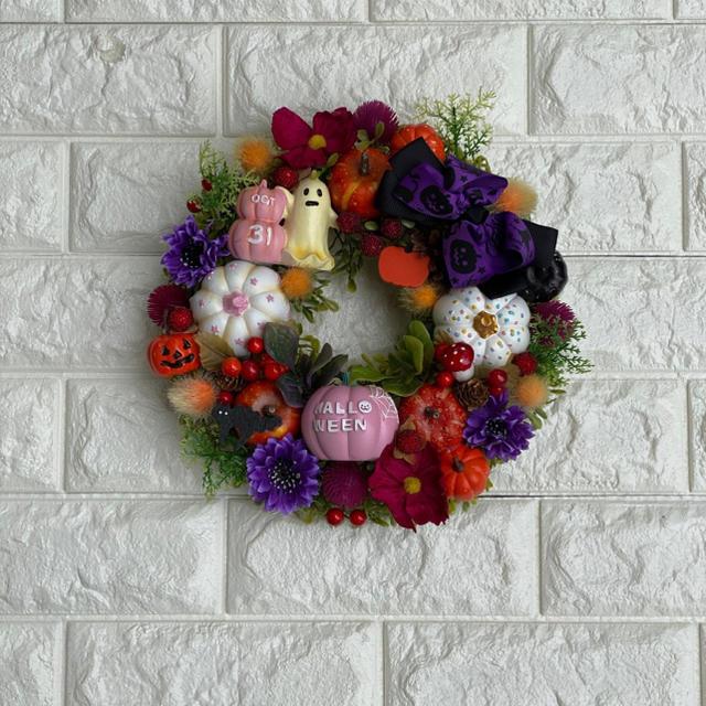 ハロウィンリース ハンドメイドのフラワー/ガーデン(リース)の商品写真