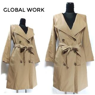 グローバルワーク(GLOBAL WORK)のグローバルワーク ベルト付き トレンチコート M ブラウンベージュ レディース(トレンチコート)