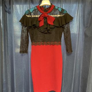 デイジーストア(dazzy store)の【デイジーストア】リボンフリル 七分袖タイトミニドレス (ナイトドレス)