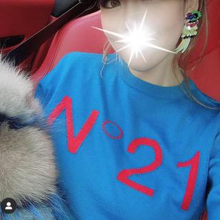 ヌメロヴェントゥーノ(N°21)のヌメロ  ロゴニット ブルー(ニット/セーター)