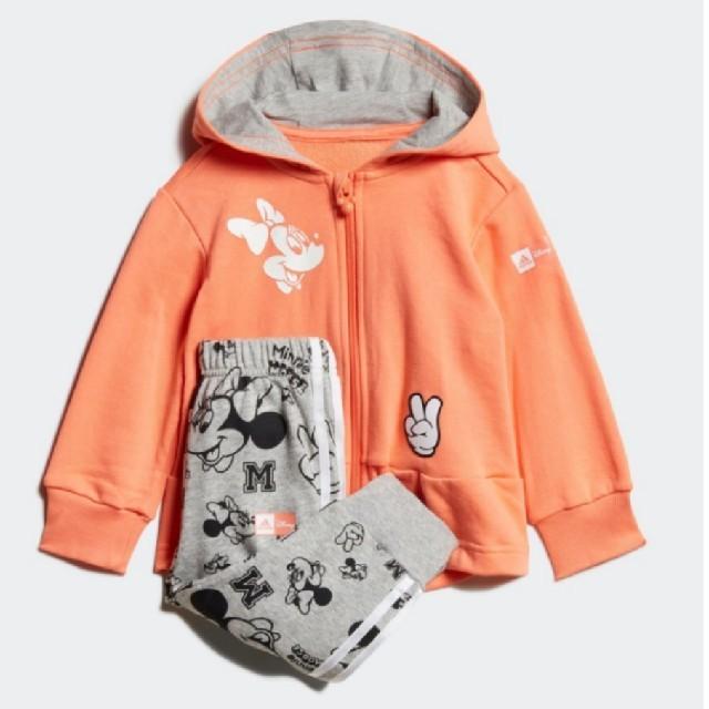 adidas(アディダス)の最終値下げ【新品】ディズニー ミニーマウス ジョガーセット /Disney  キッズ/ベビー/マタニティのベビー服(~85cm)(トレーナー)の商品写真