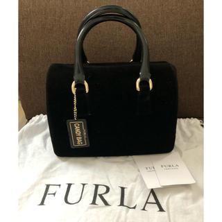 フルラ(Furla)の美品 フルラ キャンディバッグ スウェード ブラック(ハンドバッグ)