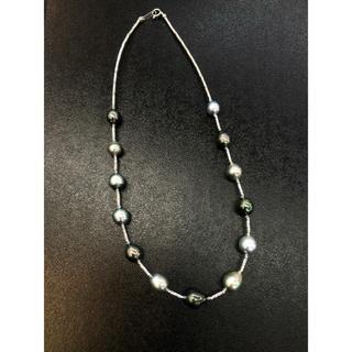 新品❣️バロック黒真珠 K18ホワイトゴールドネックレス(ネックレス)