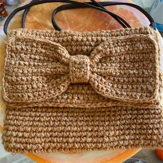 毛糸の肩掛けショルダー オレンジ(ショルダーバッグ)