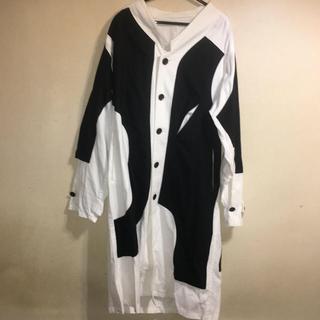 ヨウジヤマモト(Yohji Yamamoto)の美品 ヨウジヤマモト プールオム パネル切替シャツ コート L XL (ステンカラーコート)