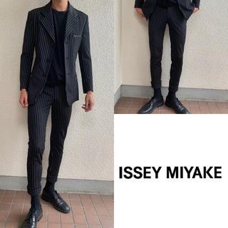 イッセイミヤケ(ISSEY MIYAKE)の【極上】Issey Miyake セットアップ ストライプ  ストレッチ素材(セットアップ)