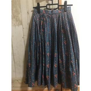 サンタモニカ(Santa Monica)の【vintage】花柄プリーツスカート(ひざ丈スカート)