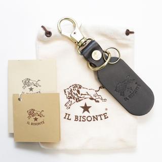 イルビゾンテ(IL BISONTE)の新品 イルビゾンテ キーリング チャーム スマートキー バケッタレザー ブラック(キーホルダー)