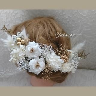 ドライフラワー 髪飾り ヘッドドレス❁成人式 結婚式 白無垢 振袖 前撮り 袴(ヘッドドレス/ドレス)