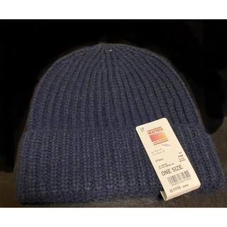 ユニクロ(UNIQLO)のUNIQLO ヒートテックニットキャップ帽 ネイビー メンズ 新品(ニット帽/ビーニー)