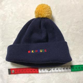 ミキハウス(mikihouse)の美品 ミキハウス ニット帽 ポンポン付き(ニット帽/ビーニー)