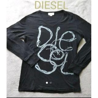 ディーゼル(DIESEL)の【DIESEL 】ネーム入りロンティー ブラック(Tシャツ/カットソー(七分/長袖))