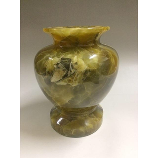 ★高級★ グリーンオニックス花瓶 レア ブラジル産 ダークグリーン(彫刻/オブジェ)