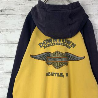 ハーレーダビッドソン(Harley Davidson)の【最高配色】ハーレーダビッドソン 両面プリント ビックロゴ ラグラン パーカー(パーカー)