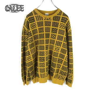 キャリー(CALEE)の【CALEE】ALLOVER PATTERN CREWNECK SWEAT 美品(スウェット)