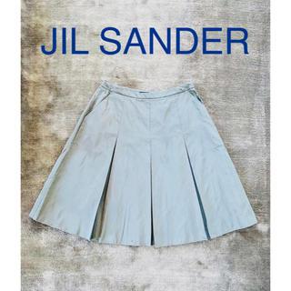 ジルサンダー(Jil Sander)のJIL SANDER NAVY グレー シルクスカート(ひざ丈スカート)