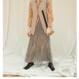 フレイアイディー(FRAY I.D)のシャンブレーサテンプリーツスカート フレイアイディ(ロングスカート)