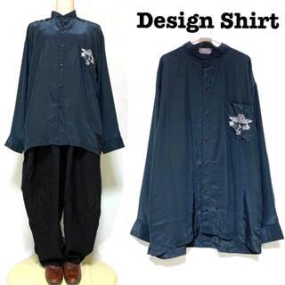 グリモワール(Grimoire)の刺繍入り ノーカラーシャツ とろみシャツ 長袖 モード(シャツ)