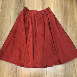 カスタネ(Kastane)のKastane ひざ丈 赤 ギャザースカート(ひざ丈スカート)