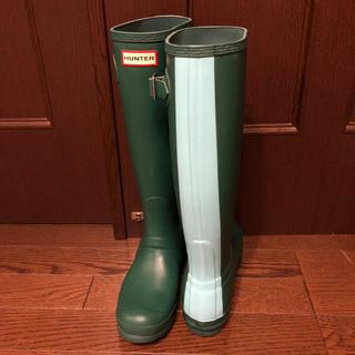 ハンター(HUNTER)のハンター 長靴 カーキ+ミントグリーンEU 37 23.5 (レインブーツ/長靴)