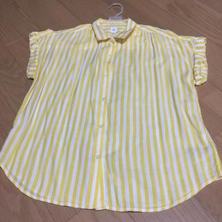 ギャップ(GAP)のレディース ストライプ 半袖シャツ 黄色(シャツ/ブラウス(半袖/袖なし))