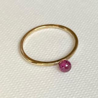 アガット(agete)のお値下げ K10 ガーネット ピンキーリング ゴールド ピンクトルマリン ピアス(リング(指輪))