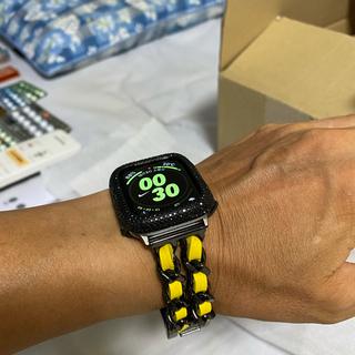 アップルウォッチ ベゼル ベルト 40ミリSeries 4 5 6 イエロー(腕時計(デジタル))
