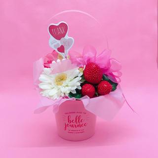 <母の日用フラワーアレンジメント>イチゴとガーベラのポット(ピンク)(その他)