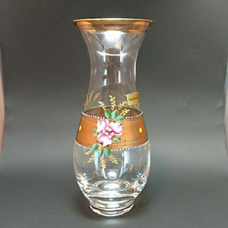 ボヘミア クリスタル(BOHEMIA Cristal)のボヘミアガラス 花瓶 HANDPAINTEDヴィンテージ(花瓶)