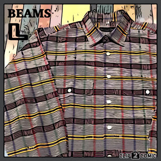 ビームス(BEAMS)の【BEAMS】チェック シャツ ☆ レトロ 希少 ビックサイズ ストライプ(シャツ)