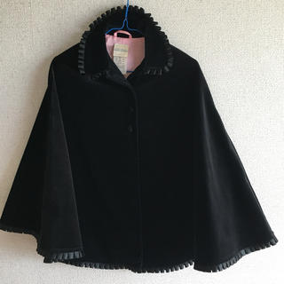 ローラアシュレイ(LAURA ASHLEY)のローラアシュレイ ポンチョ 黒 ベロア コート 冠婚葬祭(ジャケット/上着)
