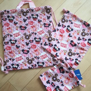ディズニー(Disney)の新品 ミニー ナップサック 巾着 コップ袋 3点  給食袋 体操着入れ ピンク(体操着入れ)
