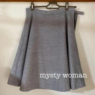 ミスティウーマン(mysty woman)のフレアスカート グレー 膝丈 ミスティウーマン(ひざ丈スカート)