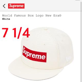 シュプリーム(Supreme)のsupreme box logo cap new era white 7 1/4(キャップ)
