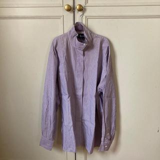 ポロラルフローレン(POLO RALPH LAUREN)のラルフローレンパープルストライプハイネックシャツ古着vintage(シャツ/ブラウス(半袖/袖なし))