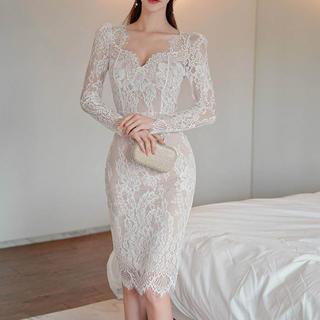 デイジーストア(dazzy store)の総レースデザインワンピース ドレス(ホワイト)(ナイトドレス)