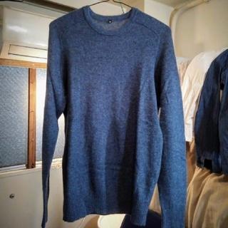ムジルシリョウヒン(MUJI (無印良品))のMUJI/ヤク混ウールクルーネックセーター/ブルー/M(ニット/セーター)