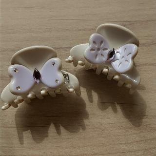 アレクサンドルドゥパリ(Alexandre de Paris)のアレクサンドル ドゥ パリ ヘア クリップ 小 2個セット 蝶々 ビジュー(バレッタ/ヘアクリップ)