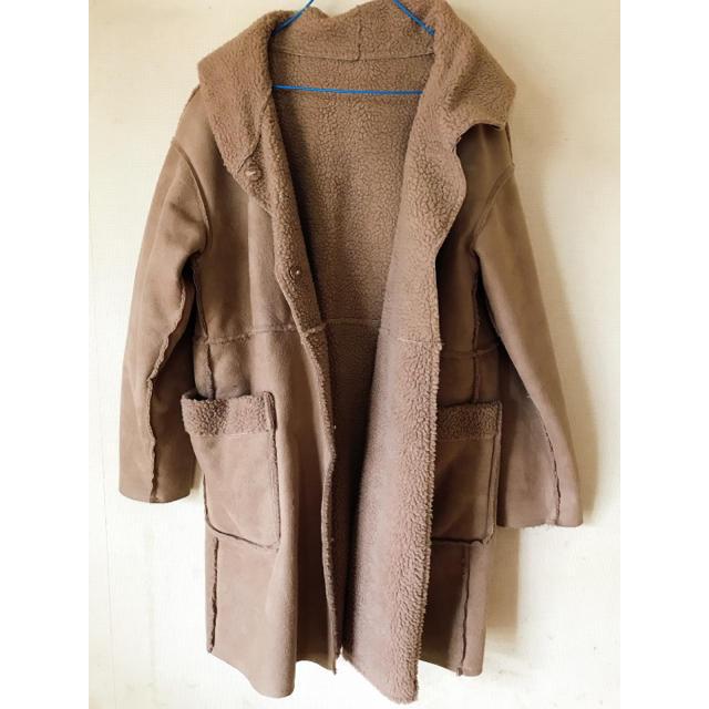 しまむら(シマムラ)のフード付きムートンコート レディースのジャケット/アウター(ムートンコート)の商品写真