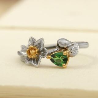 【ラスト1点】水仙の花が咲くデザインリング K18WG/YG サイズ10号(リング(指輪))
