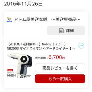 ノビー(Nobby) マイナスイオンヘアドライヤー NB2503 ブラック(ヘアアイロン)