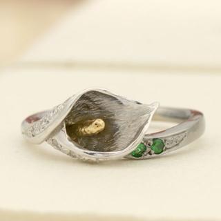 【ラスト1点】カラーの花が咲くデザインリング K18WG/YG サイズ10号(リング(指輪))