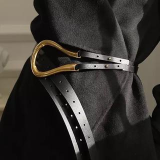 トゥデイフル(TODAYFUL)のGold Buckle Belt  BLACK(ベルト)