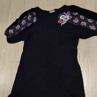 ツモリチサト(TSUMORI CHISATO)のツモリチサト   刺繍ウール黒ワンピース(袖ベルベット部分有)(ひざ丈ワンピース)