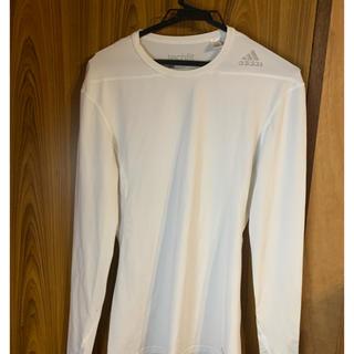 アディダス(adidas)のアディダス テックフィットロングスリーブシャツ  サッカー Mサイズ ホワイト(ウェア)