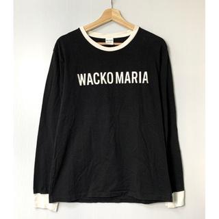 ワコマリア(WACKO MARIA)の【H】ワコマリア ロゴプリント ロングTシャツ ロンT 長袖 黒白 L(Tシャツ/カットソー(七分/長袖))