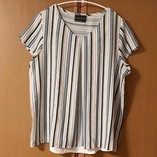カットソー Tシャツ ストライプ 異素材切替(Tシャツ(半袖/袖なし))