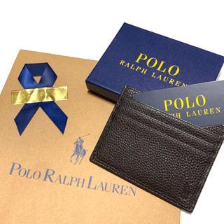 ポロラルフローレン(POLO RALPH LAUREN)のラッピング無料✧︎*。新品 レザー カードケース ウォレット / ブラウン(名刺入れ/定期入れ)