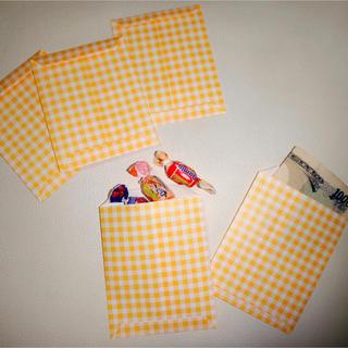 イエロー チェック柄ポチ袋 5枚セット(カード/レター/ラッピング)
