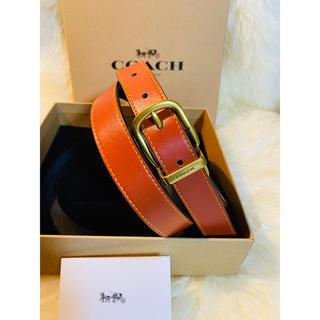 コーチ(COACH)の【COACH】コーチ人気レザーベルト ブラックxオレンジ新品 正規品(ベルト)